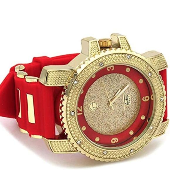 4da4e15fe3f41 Diamonds Bust Down Watch. Hip Hop Gold Red Watch